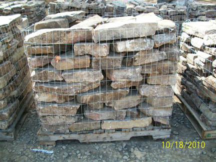 Tennessee field stone pallet in our Dunlap,TN rock yard