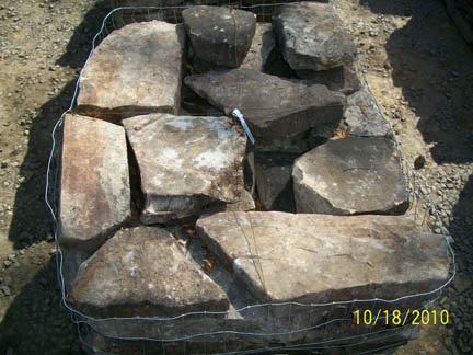 The top of a pallet of field stone